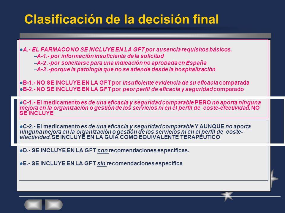 Clasificación de la decisión final