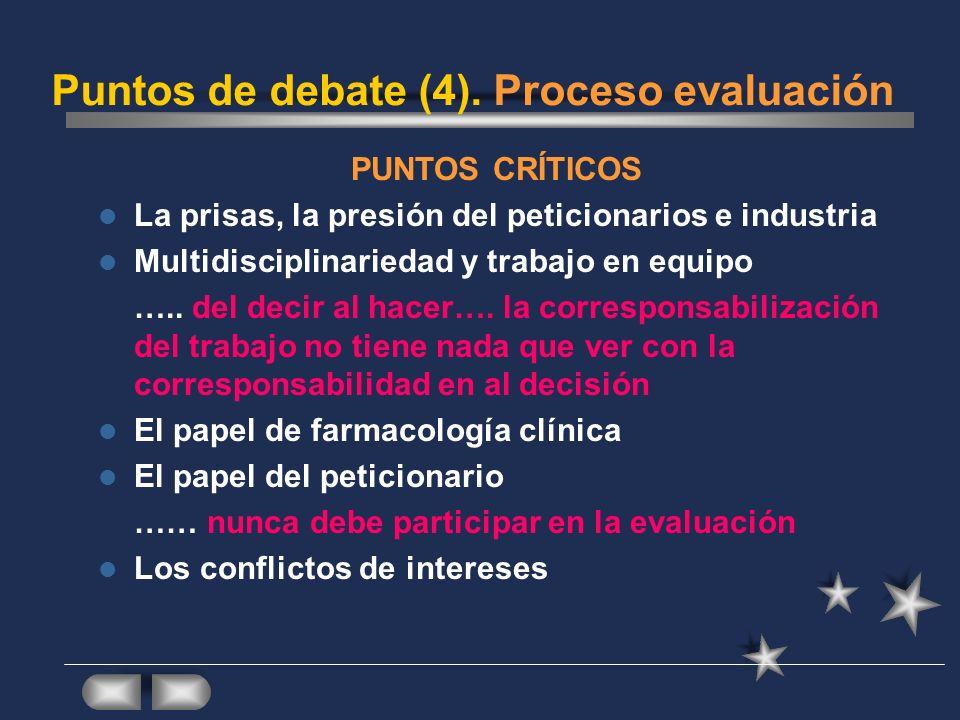 Puntos de debate (4). Proceso evaluación