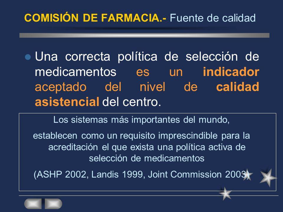 COMISIÓN DE FARMACIA.- Fuente de calidad