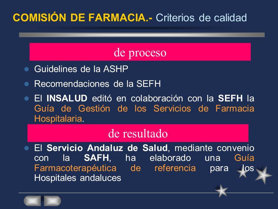 COMISIÓN DE FARMACIA.- Criterios de calidad