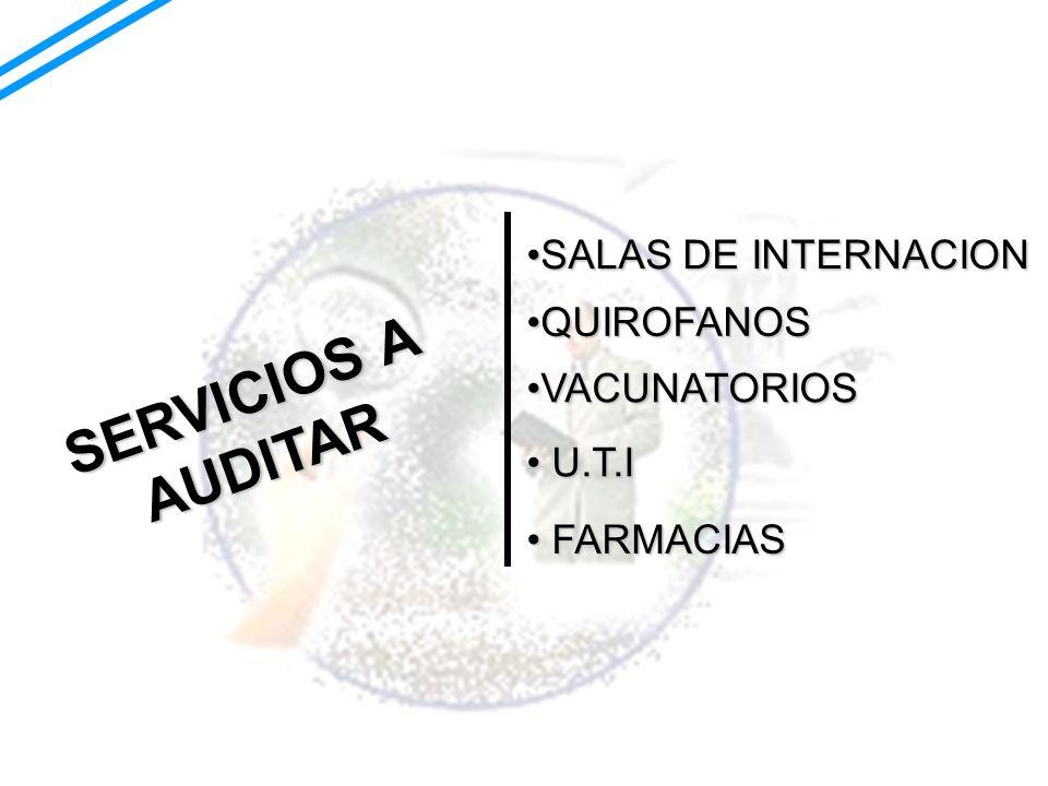 SERVICIOS A AUDITAR SALAS DE INTERNACION QUIROFANOS VACUNATORIOS U.T.I