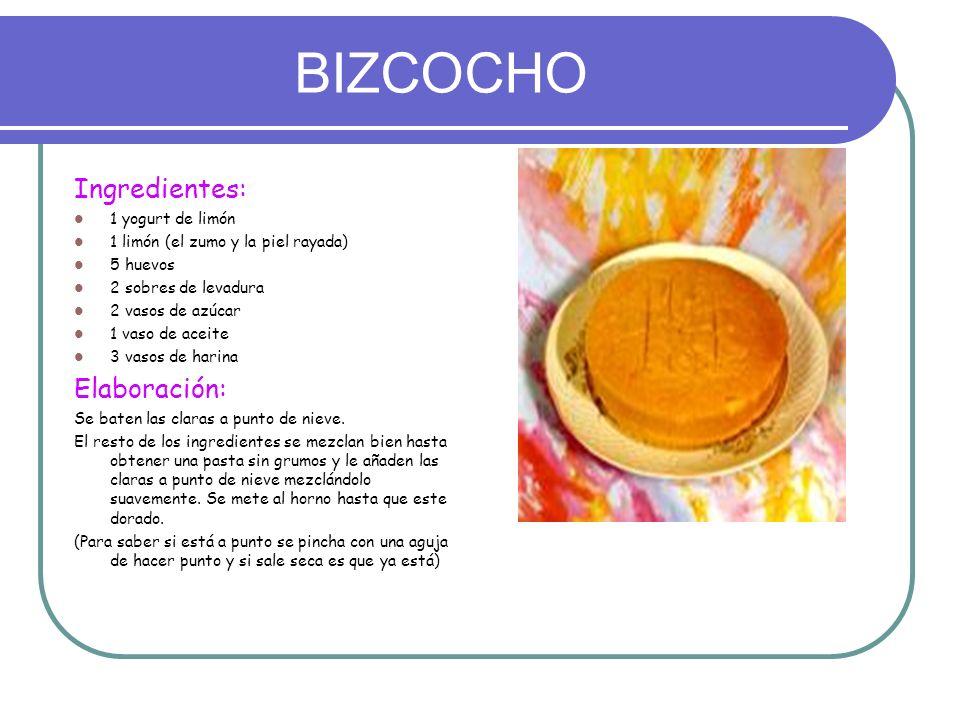 BIZCOCHO Ingredientes: Elaboración: 1 yogurt de limón