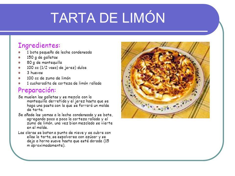 TARTA DE LIMÓN Ingredientes: Preparación: