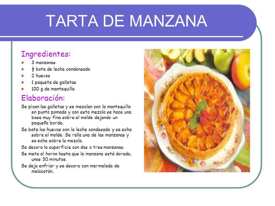 TARTA DE MANZANA Ingredientes: Elaboración: 3 manzanas