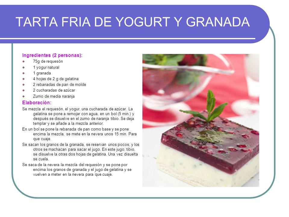TARTA FRIA DE YOGURT Y GRANADA
