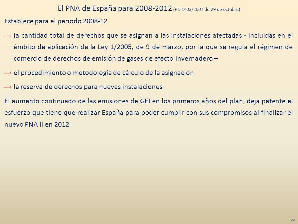 El PNA de España para 2008-2012 (RD 1402/2007 de 29 de octubre)