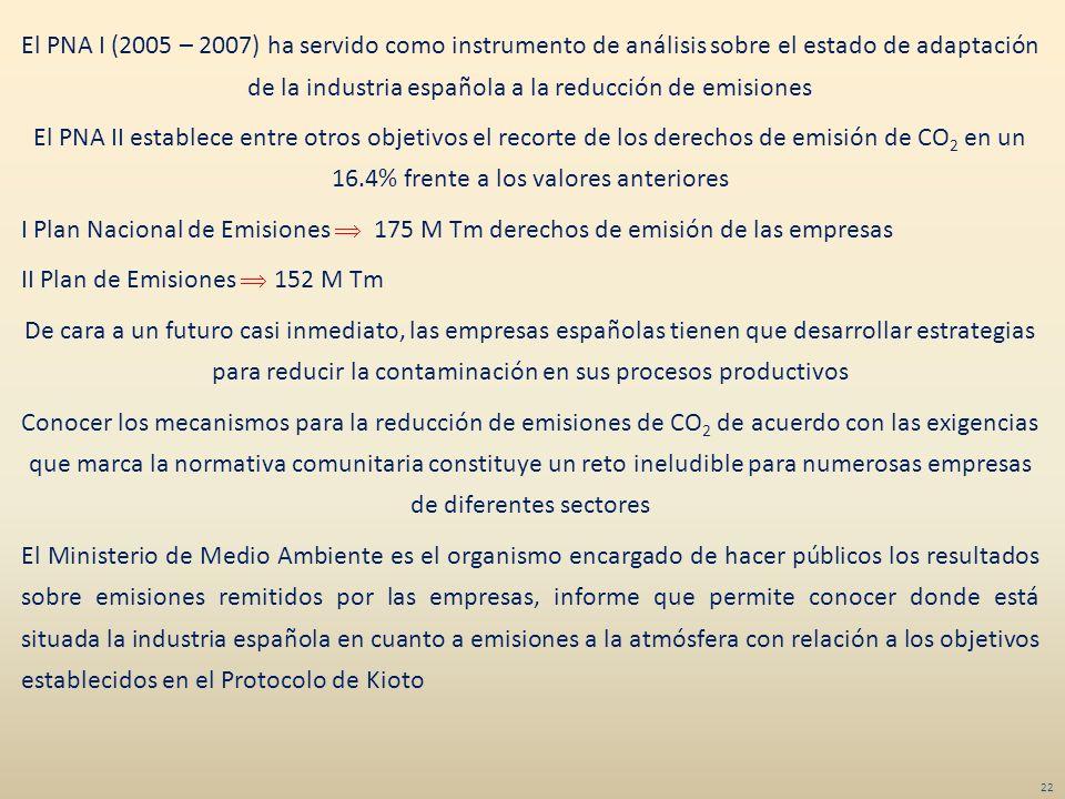 El PNA I (2005 – 2007) ha servido como instrumento de análisis sobre el estado de adaptación de la industria española a la reducción de emisiones El PNA II establece entre otros objetivos el recorte de los derechos de emisión de CO2 en un 16.4% frente a los valores anteriores I Plan Nacional de Emisiones  175 M Tm derechos de emisión de las empresas II Plan de Emisiones  152 M Tm De cara a un futuro casi inmediato, las empresas españolas tienen que desarrollar estrategias para reducir la contaminación en sus procesos productivos Conocer los mecanismos para la reducción de emisiones de CO2 de acuerdo con las exigencias que marca la normativa comunitaria constituye un reto ineludible para numerosas empresas de diferentes sectores El Ministerio de Medio Ambiente es el organismo encargado de hacer públicos los resultados sobre emisiones remitidos por las empresas, informe que permite conocer donde está situada la industria española en cuanto a emisiones a la atmósfera con relación a los objetivos establecidos en el Protocolo de Kioto