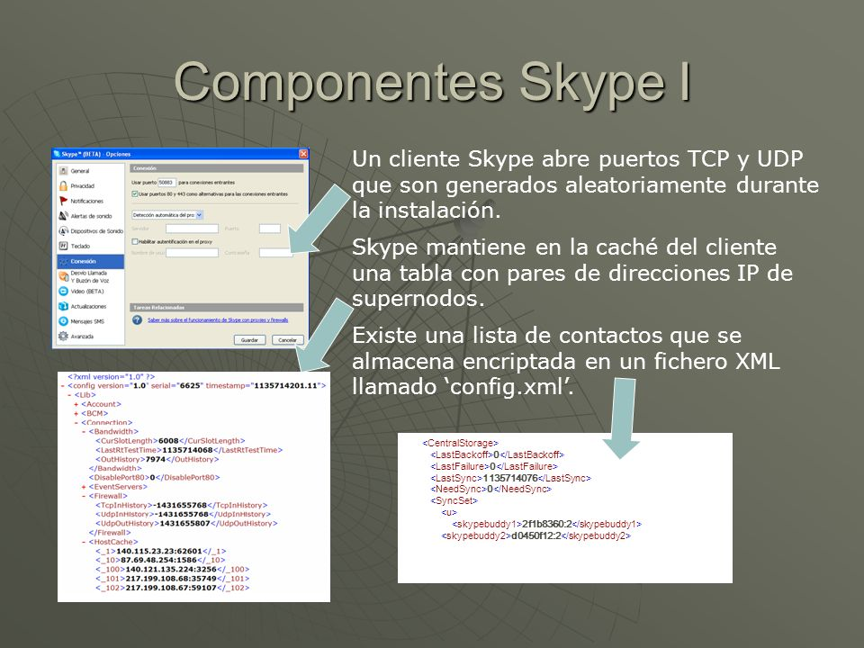 Componentes Skype I Un cliente Skype abre puertos TCP y UDP que son generados aleatoriamente durante la instalación.