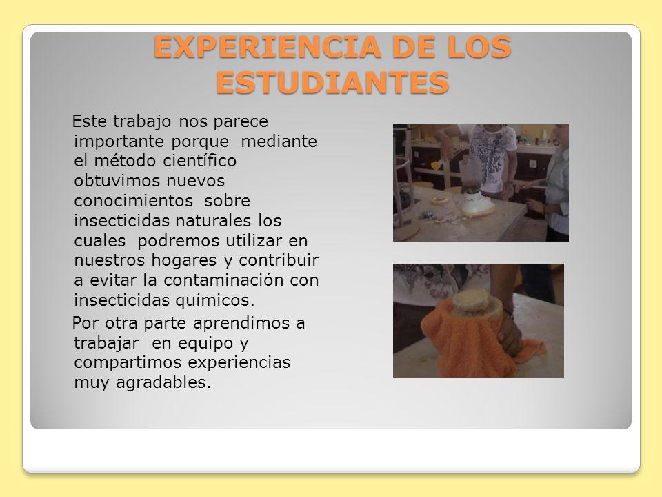 EXPERIENCIA DE LOS ESTUDIANTES
