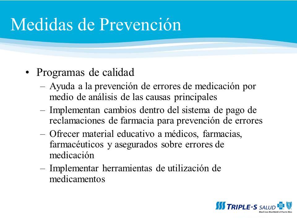 Medidas de Prevención Programas de calidad