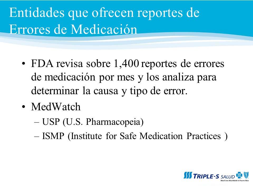 Entidades que ofrecen reportes de Errores de Medicación