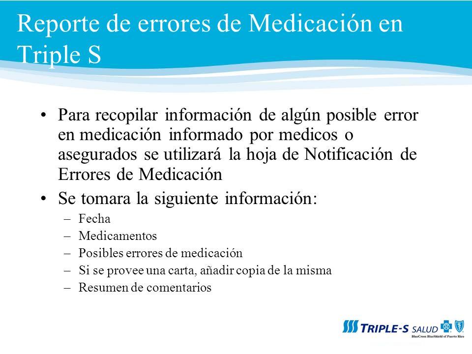 Reporte de errores de Medicación en Triple S