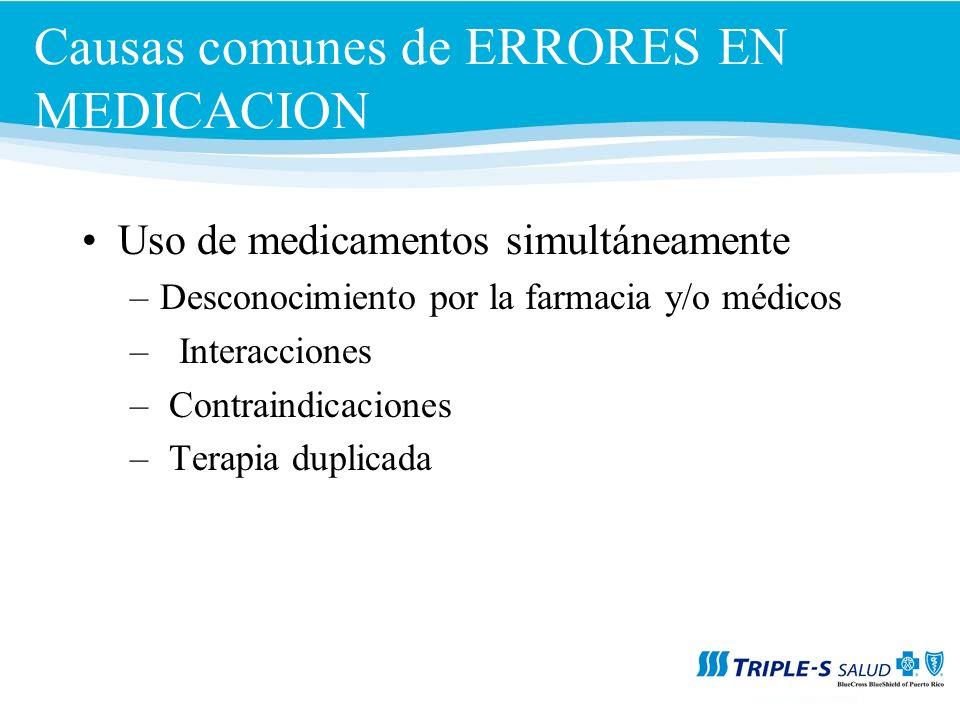 Causas comunes de ERRORES EN MEDICACION