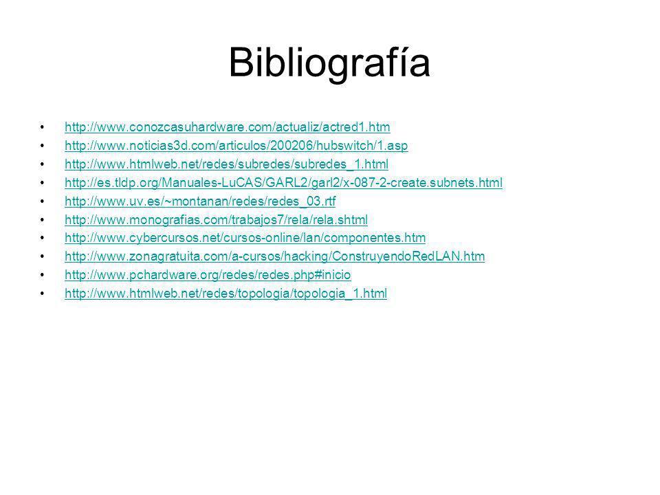 Bibliografía http://www.conozcasuhardware.com/actualiz/actred1.htm