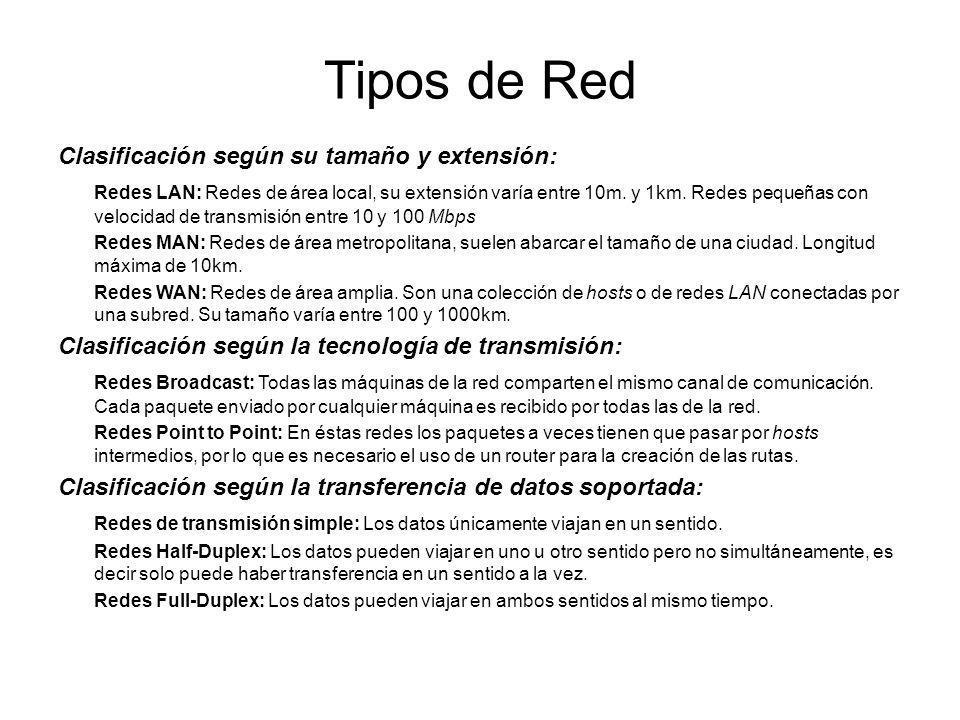 Tipos de Red Clasificación según su tamaño y extensión: