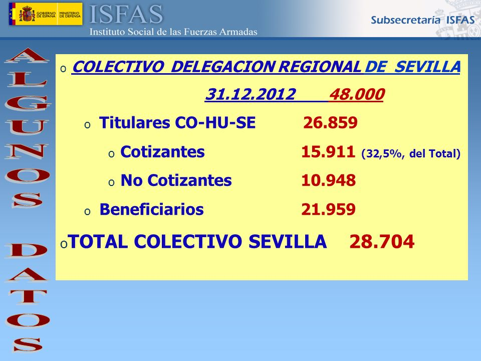 ALGUNOS DATOS TOTAL COLECTIVO SEVILLA 28.704 Titulares CO-HU-SE 26.859