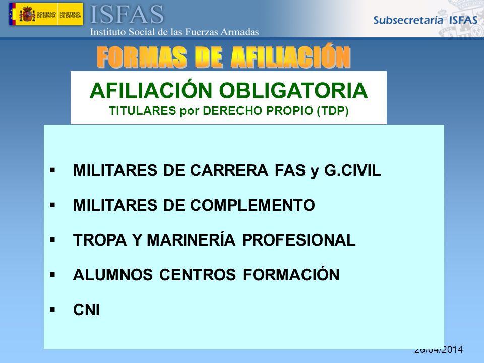 AFILIACIÓN OBLIGATORIA TITULARES por DERECHO PROPIO (TDP)