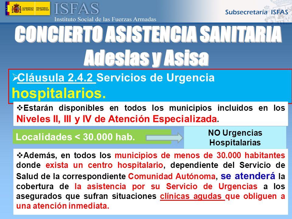 CONCIERTO ASISTENCIA SANITARIA NO Urgencias Hospitalarias