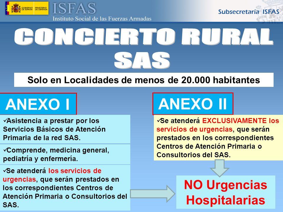 CONCIERTO RURAL SAS ANEXO I ANEXO II NO Urgencias Hospitalarias