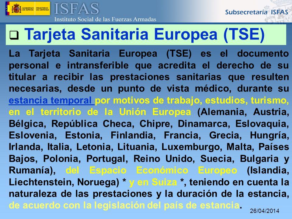 Tarjeta Sanitaria Europea (TSE)