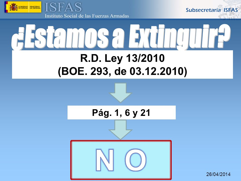 N O ¿Estamos a Extinguir R.D. Ley 13/2010 (BOE. 293, de 03.12.2010)