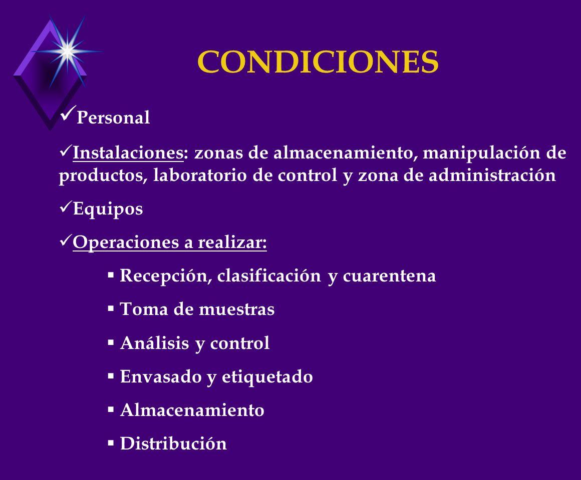 CONDICIONES Personal. Instalaciones: zonas de almacenamiento, manipulación de productos, laboratorio de control y zona de administración.