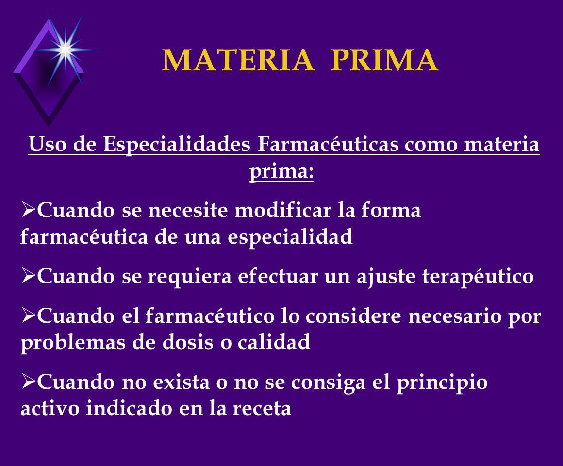 Uso de Especialidades Farmacéuticas como materia prima: