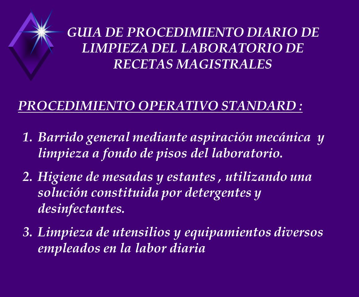 GUIA DE PROCEDIMIENTO DIARIO DE LIMPIEZA DEL LABORATORIO DE RECETAS MAGISTRALES