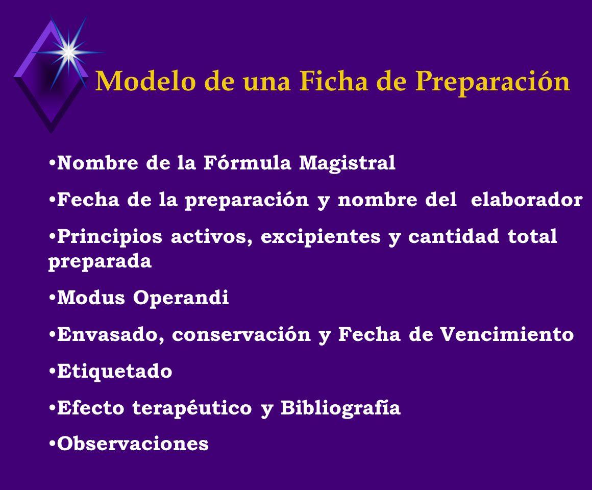 Modelo de una Ficha de Preparación