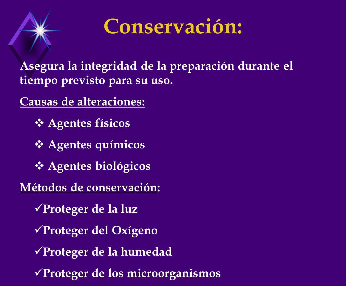 Conservación: Asegura la integridad de la preparación durante el tiempo previsto para su uso. Causas de alteraciones: