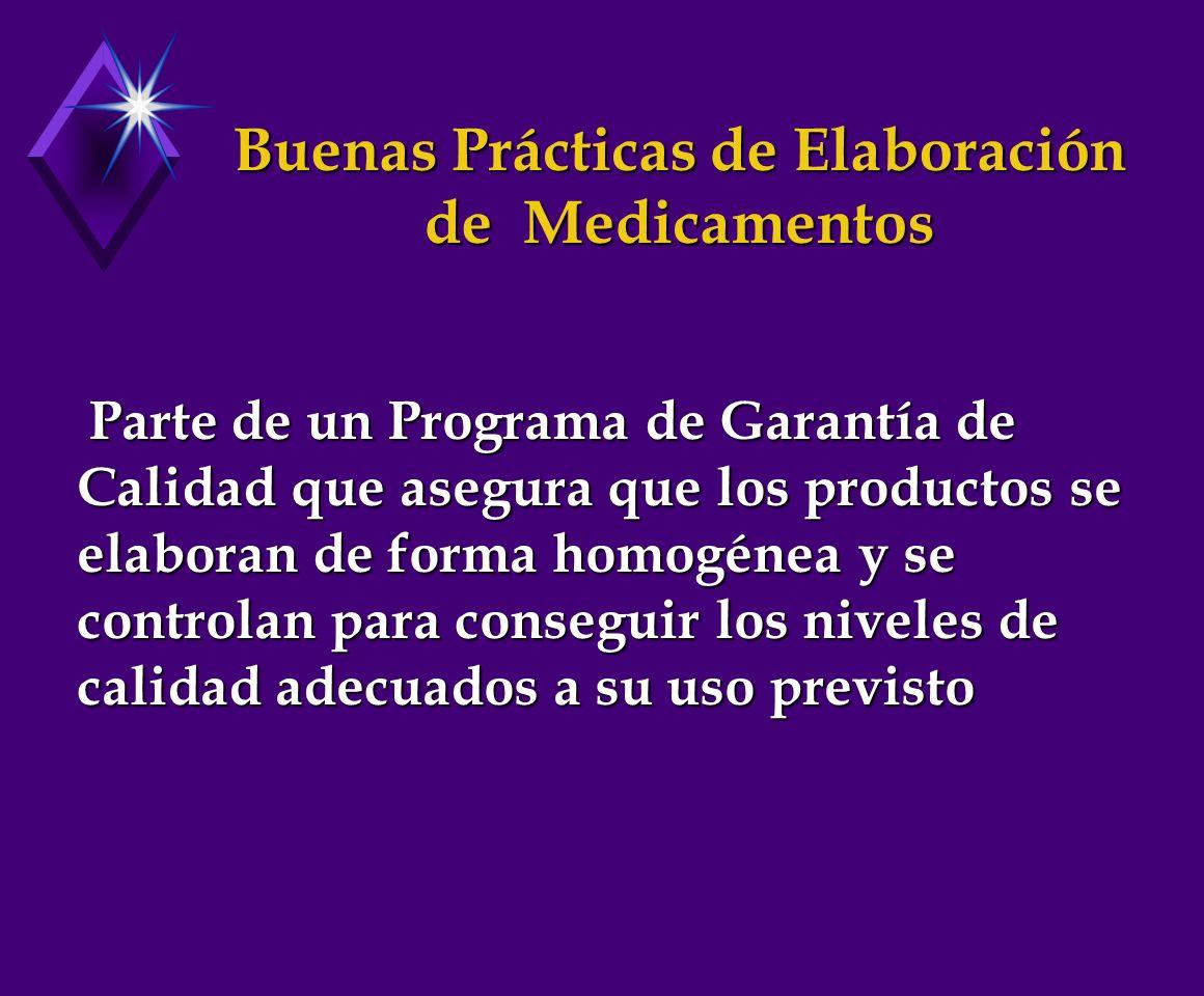 Buenas Prácticas de Elaboración de Medicamentos