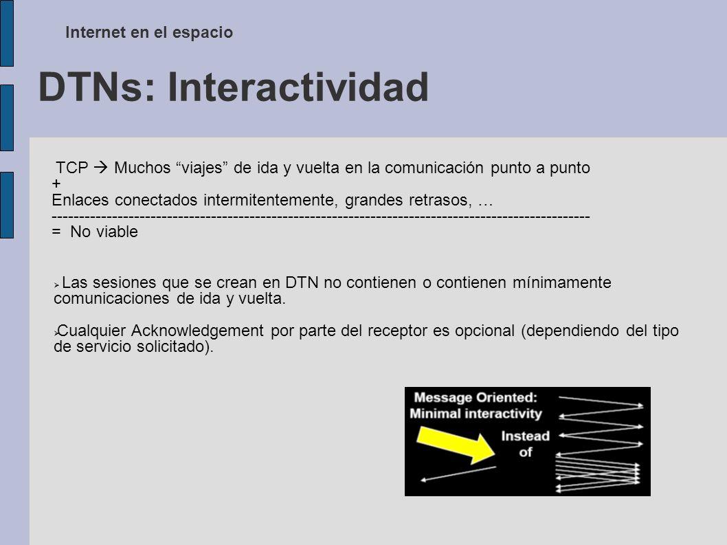 DTNs: Interactividad Internet en el espacio