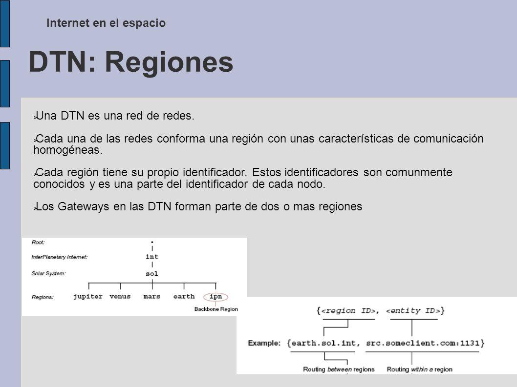 DTN: Regiones Internet en el espacio Una DTN es una red de redes.
