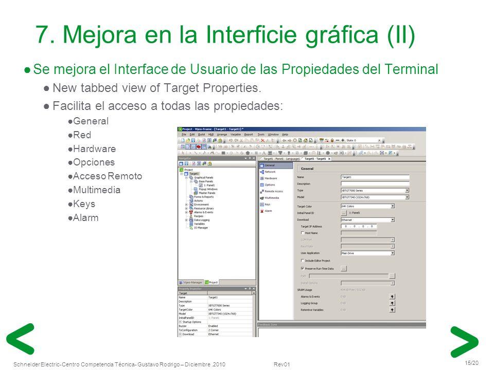 7. Mejora en la Interficie gráfica (II)