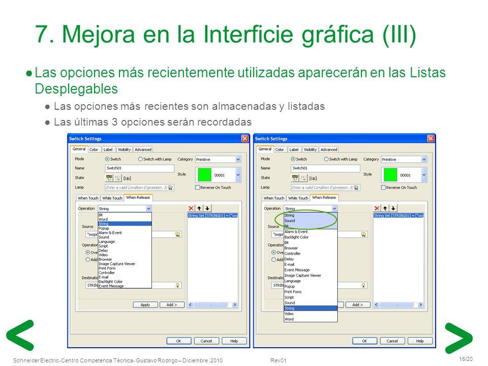 7. Mejora en la Interficie gráfica (III)