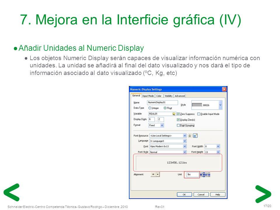 7. Mejora en la Interficie gráfica (IV)