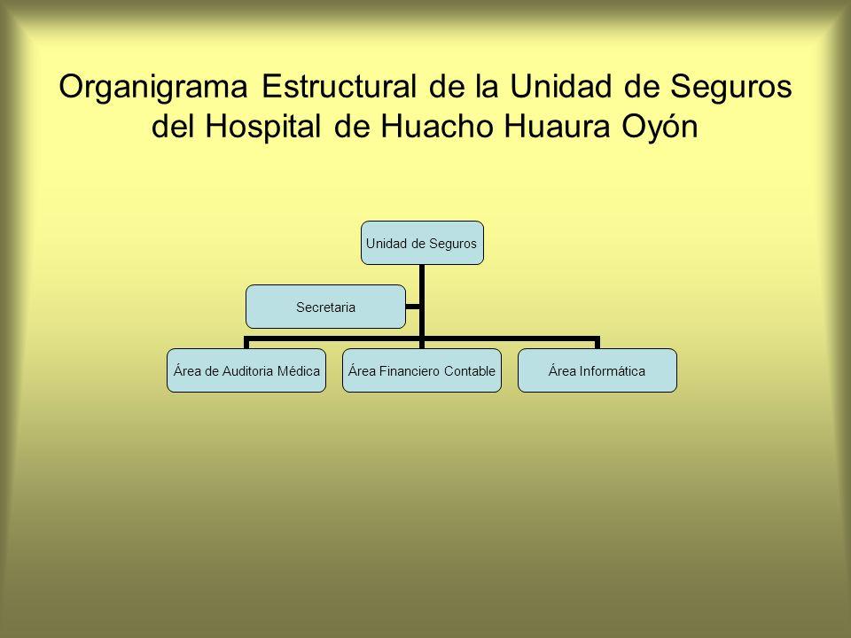 Organigrama Estructural de la Unidad de Seguros del Hospital de Huacho Huaura Oyón