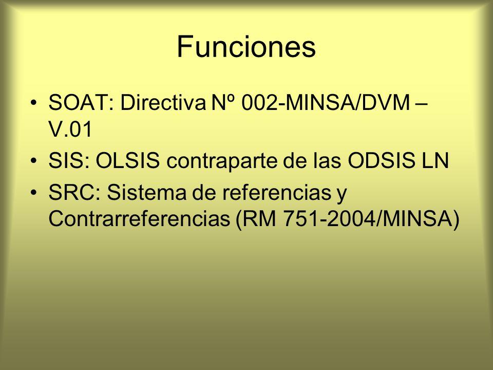 Funciones SOAT: Directiva Nº 002-MINSA/DVM – V.01