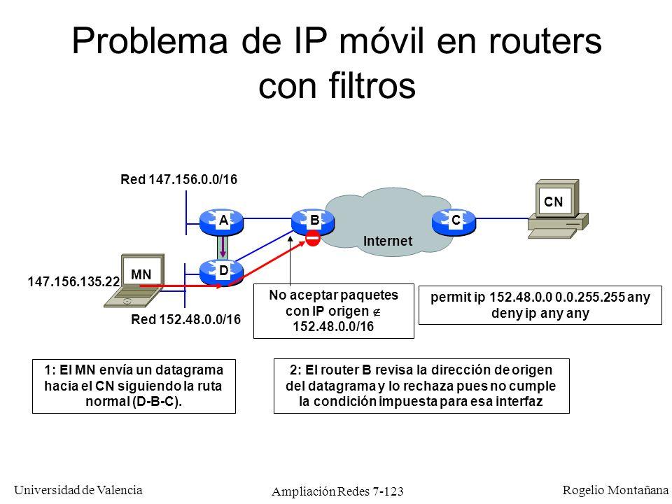 Problema de IP móvil en routers con filtros
