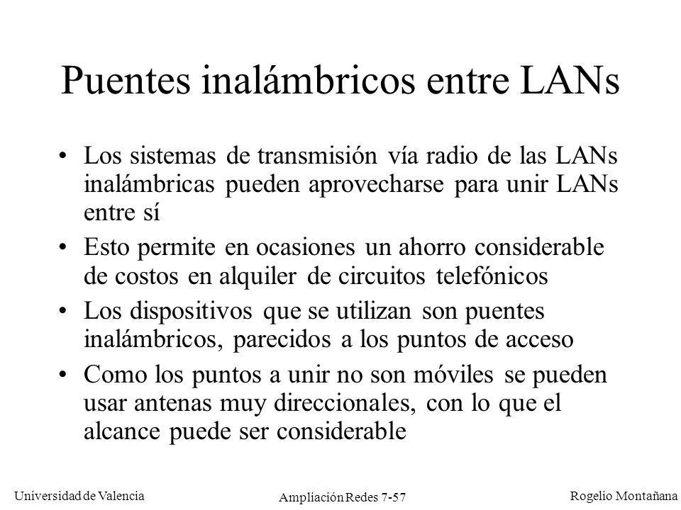 Puentes inalámbricos entre LANs