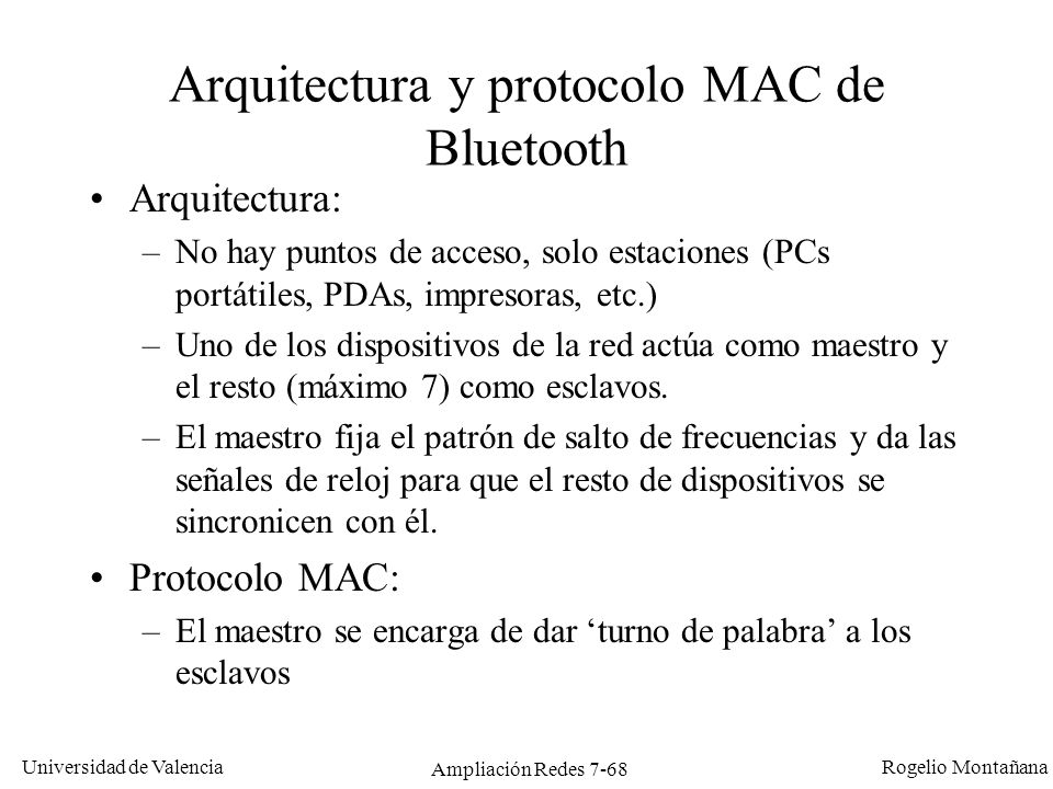 Arquitectura y protocolo MAC de Bluetooth