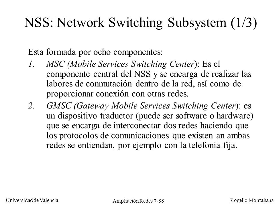 NSS: Network Switching Subsystem (1/3)
