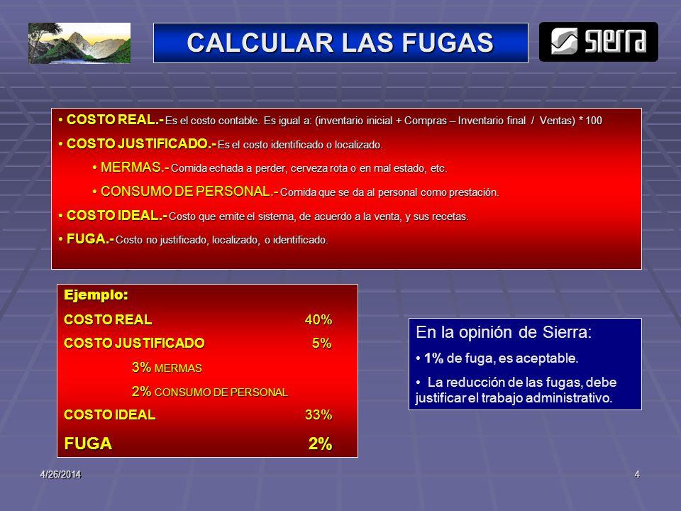 CALCULAR LAS FUGAS En la opinión de Sierra: FUGA 2%