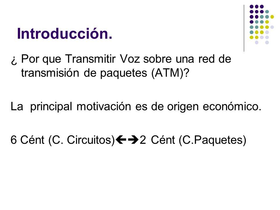 Introducción. ¿ Por que Transmitir Voz sobre una red de transmisión de paquetes (ATM) La principal motivación es de origen económico.