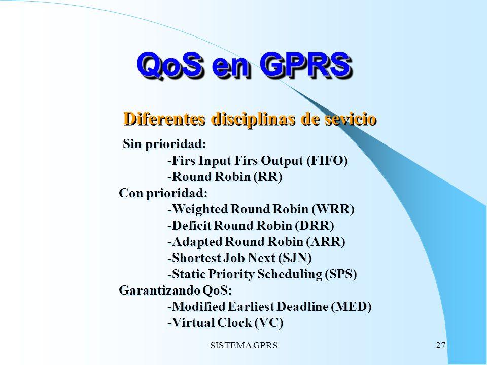 QoS en GPRS Diferentes disciplinas de sevicio Sin prioridad: