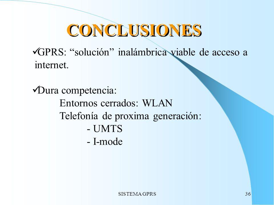 CONCLUSIONES GPRS: solución inalámbrica viable de acceso a internet.