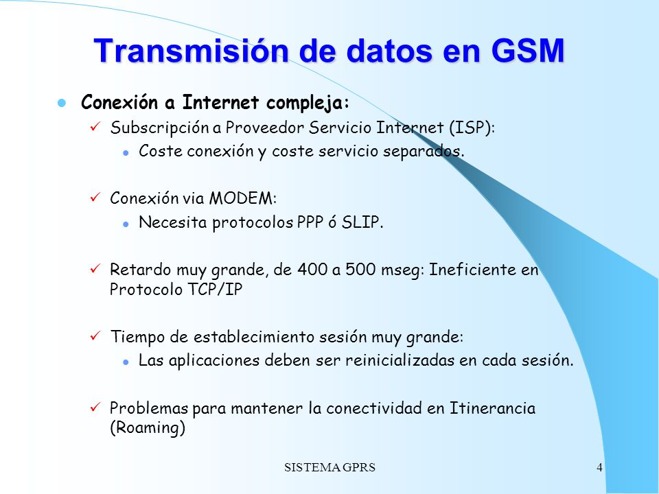 Transmisión de datos en GSM