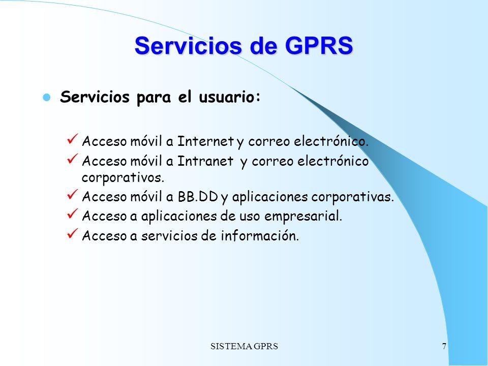 Servicios de GPRS Servicios para el usuario: