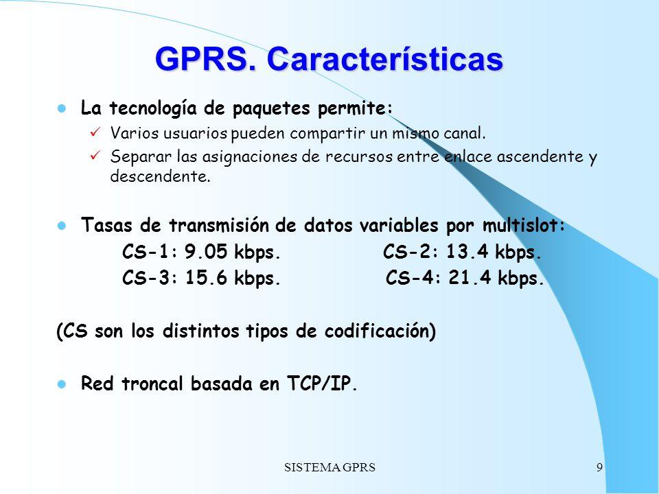 GPRS. Características La tecnología de paquetes permite: