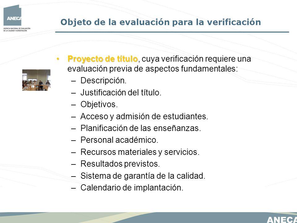 Objeto de la evaluación para la verificación